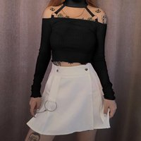 Etekler Harajuku Kızlar Sevimli Beyaz Lolita Pileli Bayan Sonbahar Vahşi Metal Zincir Dekorasyon Siyah Gotik Mini Mujer