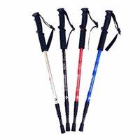 Ambientazione esterna Tromba Trekking bastoncini telescopici Alpenstock Lega di alluminio pieghevole maniglia diritta escursionismo Walking Stick ZZA2501 60Pcs