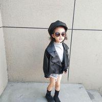 أزياء أطفال جاكيتات الأطفال بو الجلود سترة معطف بنين بنات أسود كبير التلبيب طويلة الأكمام أبلى كيد مصمم الملابس A3508