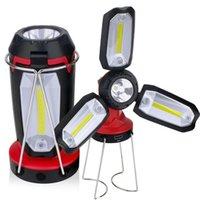 Lanternes portables USB Rechargeable Camping Lanterne Lantern COB LED Work Light Lumière Inspection Lampe de table Réparation d'urgence Tente de pêche pliante