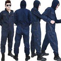 S-4XL Männer Arbeitskleidung Mechaniker Frauen-Overall Schutz Denim Cotton Jeans Overalls Overalls mit langen Ärmeln Übergrößen