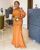 남아프리카 인어 신부 들러리 드레스 한 가지 어깨 활 플러스 사이즈 정원 컨트리 웨딩 게스트 파티 가운의 하녀 명예 드레스 사용자 정의