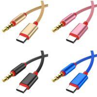 Typc C a Jack cable adaptador de 3,5 mm Cable de audio 1M chapado en oro divisor audio para Huawei Samsung altavoz del coche teléfono inteligente
