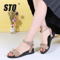 Платье обувь STQ 2021 летние женщины сандалии замшевые кожаные плоские резиновые сандалии тапочки дамы низкий каблук 2028