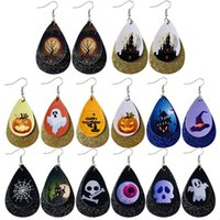 Halloween Layer PU Leather Earrings Skull Sequins Drop Dangl...