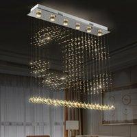 Fumat Neue Kristall-K9-Kugel-Deckenleuchte Dinning Room Moderne Kronleuchter Regen-Tropfen-Beleuchtungskörper Anhänger 2C Formular GU10 LED-Licht