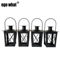 Klassischer Stil Metall-Souvenir-Kerzenhalter Haus Tee-leichte Hochzeitsdekoration Eisenlaterne schwarze Farbe
