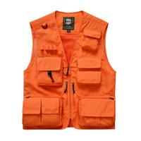 Estate V Neck Men pratico tattico maglia arancione maglia di sicurezza esterna senza maniche Caccia Pesca Casual Male sportivo 7XL