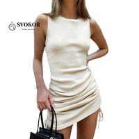 SVOKOR Strick Kordelzug Rüschenkleid Frauen-elegantes O-Ansatz, figurbetontes Kleid Ärmel Sexy Mini-Nachtclub Kleidung Schlank