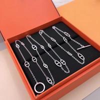 Hot Geometry voor Vrouwen Letter Ronde H Lock Sieraden S925 Zilveren Ketting Set Frankrijk Kwaliteit Superior Kwaliteit Golden Sweater Chain