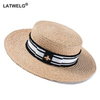 Moda Arı Yaz Güneş Şapkası İçin Kadınlar Doğal Rafya Crochet Hasır Şapka ile Kurdele Düz Panama Şapka Yaz Seyahat Plaj Şapka Y200716
