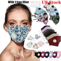 US estoque! Cotton Ciclismo máscara facial Impresso máscaras designer com a respiração válvulas são à prova de poeira FY9140 confortável e respirável Ciclismo Caps