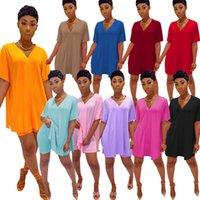 여성의 여름 패션 캐주얼 솔리드 V 넥 배트 윙 짧은 소매 느슨한 탑과 반바지 두 조각 세트
