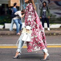 Autumn Womens Floral Pattern Printed Jacket Long Blends Coat...
