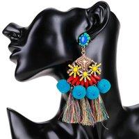 EH7353 смолы шара меха кисточка многослойного уха кольца аксессуары Чехи женских модные товары