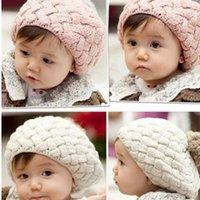 헤어 액세서리 소년 소녀를위한 브랜드 두꺼운 모자 0-5Y 드롭 어린이 모자 유아 키즈 아기 따뜻한 겨울 니트 비니 모피 모피 포플리트