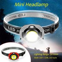 Koplampen Mini Headlamp COB LED-koplamp 50-100m Verlichtingsbereik Hoofdlamp Batterij aangedreven met Emergency Strobe Light