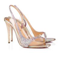 Luxey mulheres vermelhas Sandálias inferior sapatos de noite, Salto Alto Renee Strass Rinestone Bombas Sexy Women Sandal Partido do vestido de casamento Sho c13