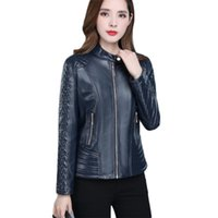 Yocalor Faux Leather Coat Women Autumn Korean Short Slim XL-...
