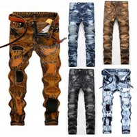 Unique Mens Embroidery Ripped Skinny Jeans Fashion Designer ...