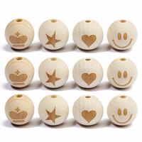 Mayforest 20pc / lot runde natürliche Holzperlen Lächeln Gesicht Herz-Kronen-Stern-Baby-Beißring Kind Holzperlen für Schmuck Makings