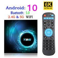 T95 مربع التلفزيون الذكي الروبوت 10 4K 6K 4G 32GB 64GB 2.4G 5G Wifi Bluetooth 5.0 رباعية النواة مجموعة أعلى مربع 2G 16G مشغل وسائط