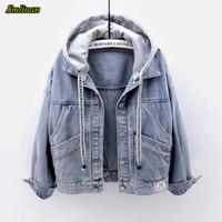 Smlinan otoño del resorte de la chaqueta con capucha de las mujeres de Fahion Denim Recta Tamaño Jeans Streetwear Vintage capa femenina CX200725 Pocket Plus