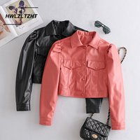 HWLZLTZHT New Mulheres Faux Leather Jackets 2020 PU Motociclista Coats Outono Brasão Feminino Outwear Moda Loose Women Jacket