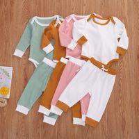 Niños diseñador ropa niños ropa conjuntos de ropa de manga larga sólidos pantalones trajes chicas otoño moda mono pantalones trajes LSK532