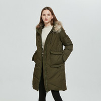Lady' s hooded warm long pure down coat autumn winter do...