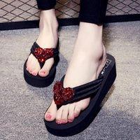 Terlik Bimuduiyu Flip-floplar Plaj Ayakkabı Kadın Terlik Kadın Yaz Kama Platformu Yüksek Topuk Tatil Sandalet