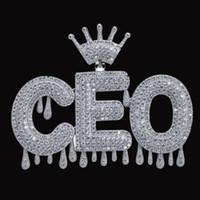 Con nome a Corona Bail Drip Iniziali Bubble Lettere pendente Crown lettere cubico zircone gioielli Hip Hop