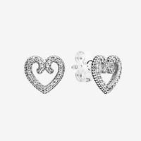 Kadın Aşk Kalpler Düğün Küpe Yüksek Kalite Takı Orijinal Hediye Kutusu ile Pandora 925 Ayar Gümüş Kalp Swirl Saplama Küpe