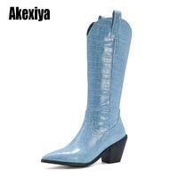 الأحذية السوداء الأزرق الأبيض الركبة عالية الغربية رعاة البقر للنساء طويل الشتاء أشار تو راعية البقر أسافين دراجة نارية