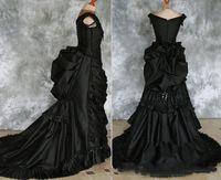 Preto do século 19 frisada gótico vitoriano vestidos de casamento vampiro baile de máscaras nupcial Halloween vestido Steampunk gótico vestidos de casamento