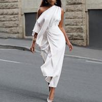 VONDA 여성 드레스 팜므 캐주얼 솔리드 컬러 불규칙한 드레스 플러스 사이즈 섹시 한 오프 어깨 로브 느슨한 파티 Vestidos 5XL