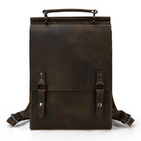 ABER Crazy Horse Leather Bag Men School Backpack 2020 New Vintage Handmade Cowhide Solid Color Large Capacity Man Bagpack