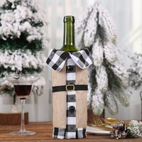 Weihnachten Red Weinflasche Abdeckung Plaid Leinen Wein Taschen Weihnachtsdekorationen Wein-Sets Revers Rote Flaschen-Hüllen-Party Home Decor GGA3563-8