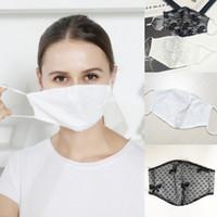 DHL 3-7days Spitze Maske doppelte Schicht atmungsaktiv dünne Gesichtsmaske im Freien Frauen staub- hängenden Ohr Maske Designer Masken Cotton FY0055