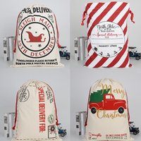 50*70cm Christmas Gift Bag Cotton Canvas Bags Christmas Candy Drawstring Santa with Reindeers Free Shipping