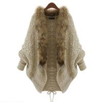 Maglioni delle donne casuali Aprire collo lungo del manicotto del blocco solido Khaki collare della pelliccia di inverno Cardigan donna