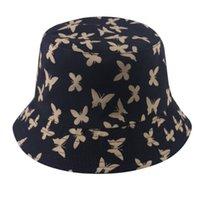 2020 nuevo de la manera reversible Negro mariposa de la impresión de cubo sombreros Bob Pescador casquillo casquillos mujeres de las señoras Gorras