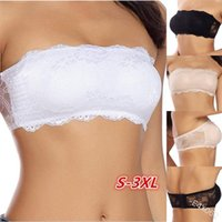 Women Push Up Bras Lady Sexy Lingerie Wire Free Pure Color Lace Hollow Strapless Invisible Bra Underwear