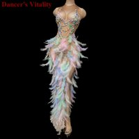 Colored feathers Long Graduation Dress Birthday Celebration ...