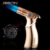 Jobon puissant triple torche briquet tuyau de cigare jet turbo bbq briquet gratuit fixe coupe-vent pulvérisateur de pistolet de pistolet de gaz en métal 1300 c