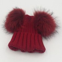 Cap Girl Fashion chapéu morno outono recém-nascido Inverno do bebê de alta qualidade bonito boné Bola Duplo Cabelo Knit Beanie