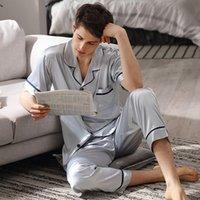 Erkek pijama buz ipek erkekler yaz kısa kollu rahat moda pijama setleri gökyüzü mavi iki parçalı pijama erkek 90011