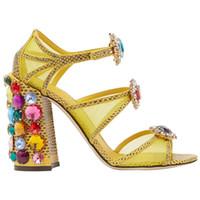 el envío libre de las señoras atractivas de tamaño de malla de cuero 2020 mujeres de las sandalias de hilo de diamante 8cm gruesos tacones altos peep toe zapatos de fiesta de boda 35-42 biling