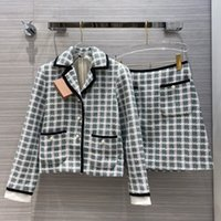 2020 autumn winter women plaid tweed 2 pieces set pearls buttons pockets short blazer coat + mini skirt skirt suit set S84