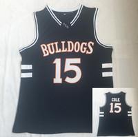 Homens 15 J. Cole Bulldogs High School Jersey Real Bordado Camisa Top Quality Por Atacado Filme Basquete Via tamanho S-2XL